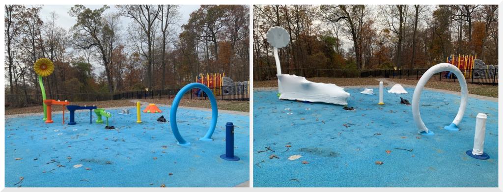 Spray Park in Livingston, NJ wrapped up for winter