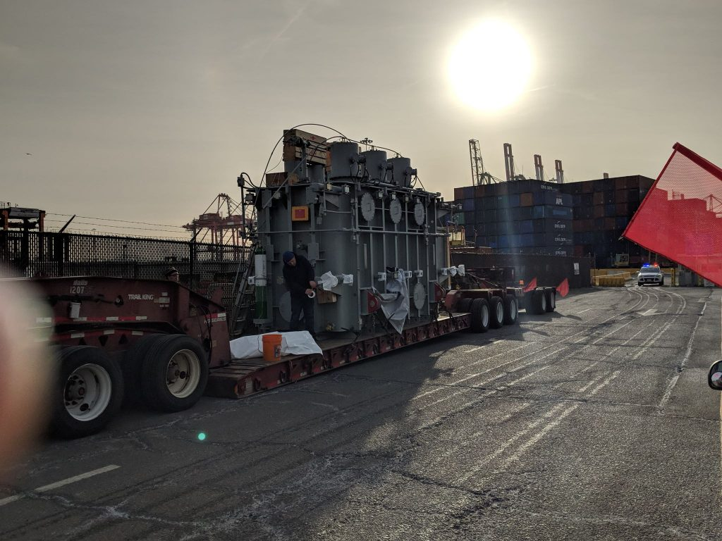 Electrical Transformer Fresh off the Boat from Israel going from Elizabeth Seaport to Minnesota